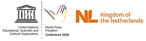 Logo set of Unesco, World Press Freedom Day and the Kingdom of the Netherlands